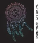 dreamcatcher with feathers ... | Shutterstock .eps vector #691105696