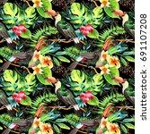 sky bird toucan pattern in a...   Shutterstock . vector #691107208