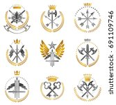 vintage weapon emblems set.... | Shutterstock .eps vector #691109746