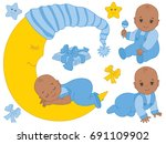 vector set with cute african... | Shutterstock .eps vector #691109902