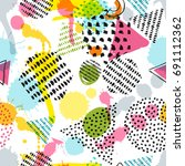 vector seamless pattern with... | Shutterstock .eps vector #691112362