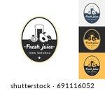 vintage juice logo design...   Shutterstock .eps vector #691116052