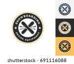 vintage ski logo design... | Shutterstock .eps vector #691116088
