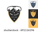 vintage ski logo design... | Shutterstock .eps vector #691116196