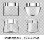set of transparent cosmetic... | Shutterstock .eps vector #691118935