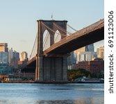 brooklyn bridge during sunrise  ... | Shutterstock . vector #691123006