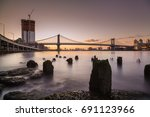 manhattan bridge early morning  ... | Shutterstock . vector #691123966