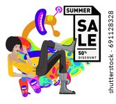 summer sale colorful style... | Shutterstock .eps vector #691128328