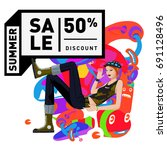 summer sale colorful style... | Shutterstock .eps vector #691128496