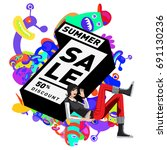 summer sale colorful style... | Shutterstock .eps vector #691130236