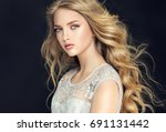 blonde fashion  girl with long  ... | Shutterstock . vector #691131442