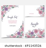 floral greeting cards | Shutterstock .eps vector #691143526