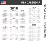 usa calendar for 2018  2019 and ... | Shutterstock .eps vector #691149955
