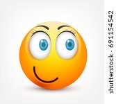 smiley with blue eyes emoticon... | Shutterstock .eps vector #691154542