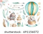 cute baby nursery on balloon... | Shutterstock . vector #691156072