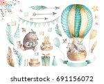 cute baby nursery on balloon... | Shutterstock . vector #691156072