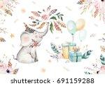 Stock photo cute baby elephant nursery animal isolated illustration for children bohemian watercolor boho 691159288