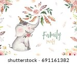 Stock photo cute baby elephant nursery animal isolated illustration for children bohemian watercolor boho 691161382