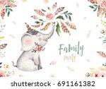 cute baby elephant nursery... | Shutterstock . vector #691161382
