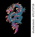 embroidered dragon. trendy... | Shutterstock .eps vector #691173718