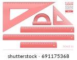 red plastic transparent... | Shutterstock .eps vector #691175368