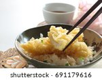 Small photo of Japanese food, Anago Tempura on rice Sea Eel don