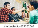 happy friends toasting bio... | Shutterstock . vector #691181062