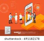 isometric smart mobile health... | Shutterstock .eps vector #691182178