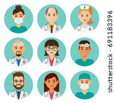 medicine flat avatars set with... | Shutterstock .eps vector #691183396