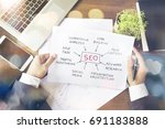 notebook with tolls and notes... | Shutterstock . vector #691183888