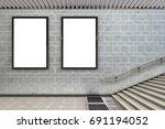 two blank vertical billboard...   Shutterstock . vector #691194052