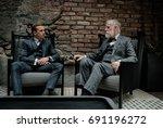 senior and young gentlemen... | Shutterstock . vector #691196272