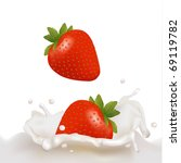 red strawberry fruits falling... | Shutterstock .eps vector #69119782