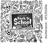 welcome back to school poster... | Shutterstock .eps vector #691201006