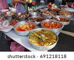 """street foods """"economy rice"""" at...   Shutterstock . vector #691218118"""