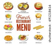 french restaurant menu with... | Shutterstock .eps vector #691218616