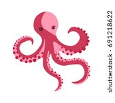 pink octopus with long... | Shutterstock .eps vector #691218622