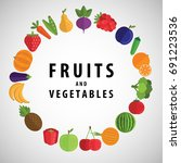 circle of vegetables and fruits ... | Shutterstock .eps vector #691223536