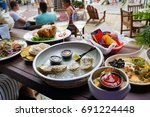 oyster and champagne happy hour ... | Shutterstock . vector #691224448