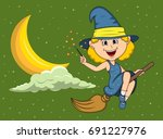 halloween witches fly with... | Shutterstock .eps vector #691227976