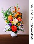flower vases on table   Shutterstock . vector #691229146