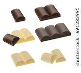 set of chocolate pieces  milk... | Shutterstock .eps vector #691232995