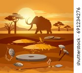stone age. hunting for mammoth  ... | Shutterstock .eps vector #691234276
