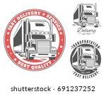 big truck. set of vector logos. | Shutterstock .eps vector #691237252