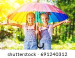 happy funny  sisters twins ... | Shutterstock . vector #691240312