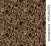bakery seamless pattern with... | Shutterstock . vector #691241512