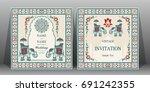 indian wedding invitation card... | Shutterstock .eps vector #691242355