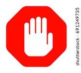 stop hand symbol red octagonal... | Shutterstock .eps vector #691249735
