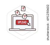 uploading file on a laptop...   Shutterstock .eps vector #691250602