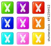 pencils icons of 9 color set... | Shutterstock . vector #691254412